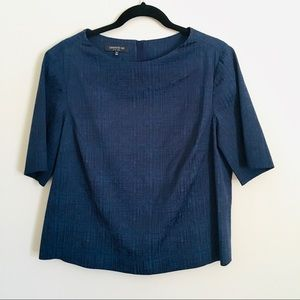 Lafayette 148 New York blue blouse w/ zipper back